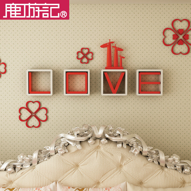 鹿游记红框白字白框红字胶合特殊造型密度板纤维板人造板工艺字母成人简约现代壁柜