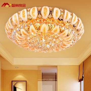 馨巢良品水晶铁欧式电镀圆形白炽灯节能灯吸顶灯