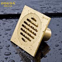 铜质铜色普通地漏方形防臭式 地漏