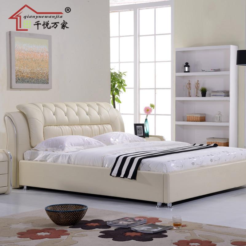千悦万家 环保皮进口真皮木接触面真皮组装方形简约现代 QY651床