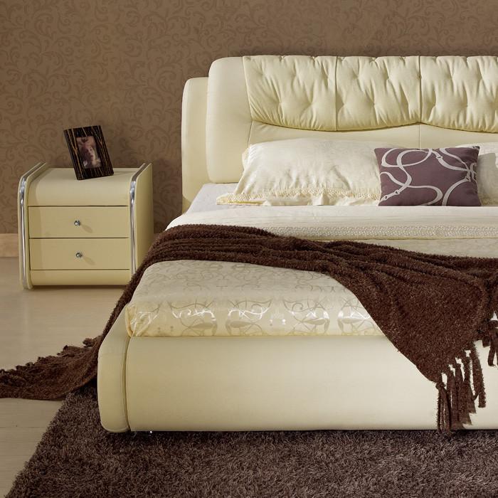 雅琼复合皮革组装方形简约现代床