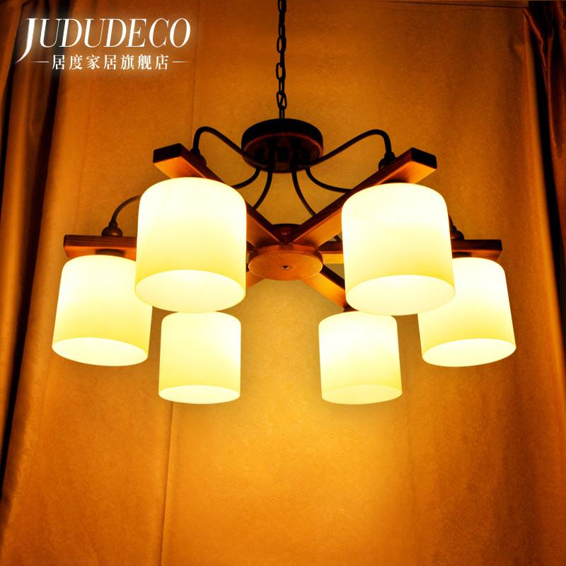 居度玻璃铁木美式乡村白炽灯节能灯-吊灯