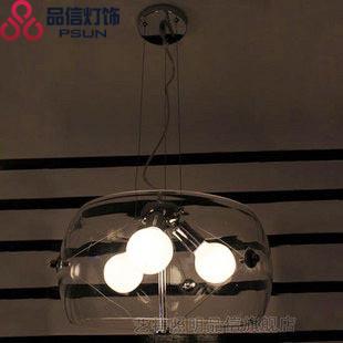 品信玻璃铁新古典镀铬白炽灯吊灯