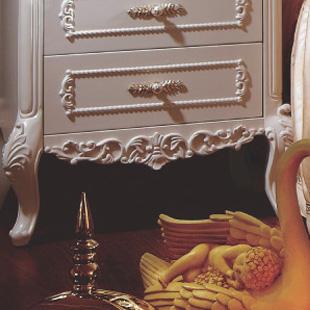 香娜莉#床头柜(不单卖)框架结构橡木储藏植物花卉成人欧式床头柜