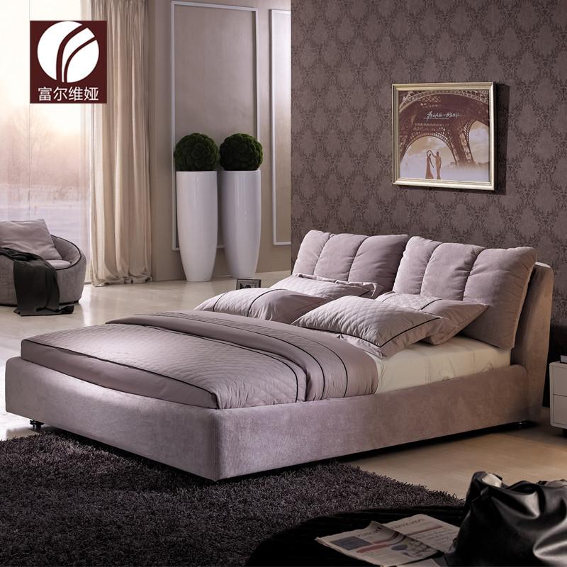 富尔维娅紫色灰色带点粉木绒质方形简约现代床