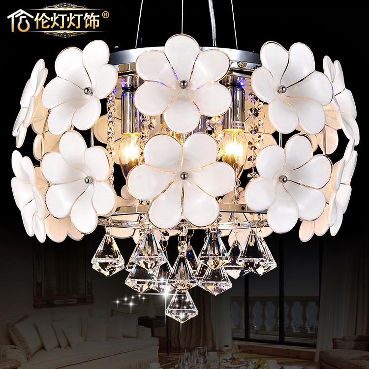 倫燈燈飾 白玉蘭花朵送智能分段水晶玻璃鋼鐵水晶田園鍍鉻白熾燈節能燈LED 吊燈