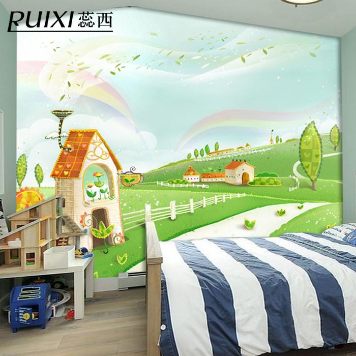 蕊西磨砂有图案儿童房简约现代墙纸