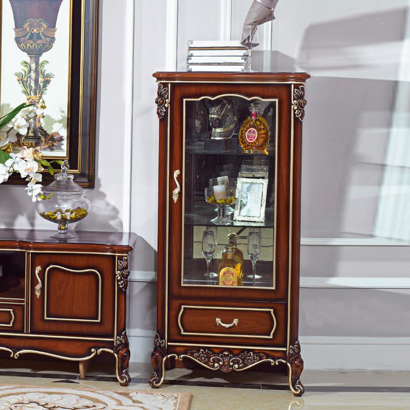 z 深色单门矮柜框架结构橡木储藏植物花卉欧式 酒柜