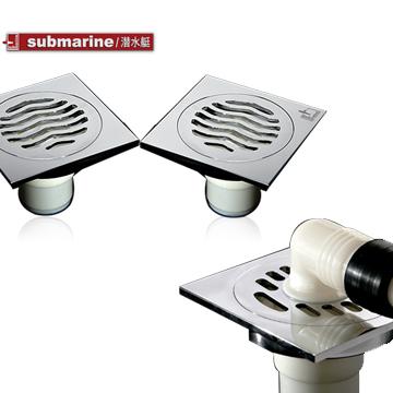 潛水艇submarine 銅鍍鉻方形防臭式 銅鍍鉻地漏套餐地漏