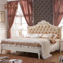 荷花白框架结构组装式箱体床欧式雕刻 床