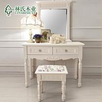 妆台方镜组合+仿古白组装喷漆框架结构桦木储藏成人韩式 梳妆台