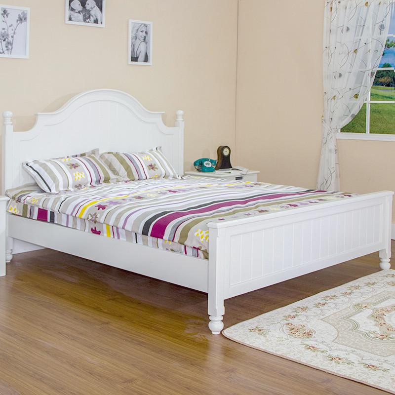 洪鑫家居白色橡木框架结构田园拼板床