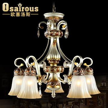 欧塞洛斯铁水晶玻璃树脂欧式热弯白炽灯节能灯-吊灯