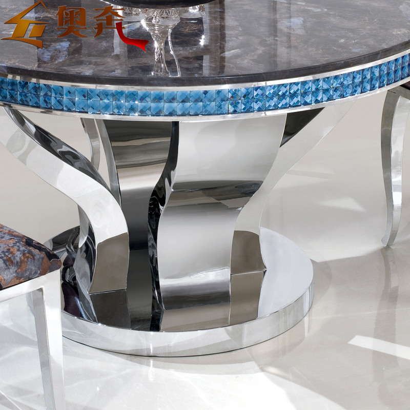 奥奔 金属组装不锈钢大理石框架结构多功能艺术圆形简约现代 餐桌
