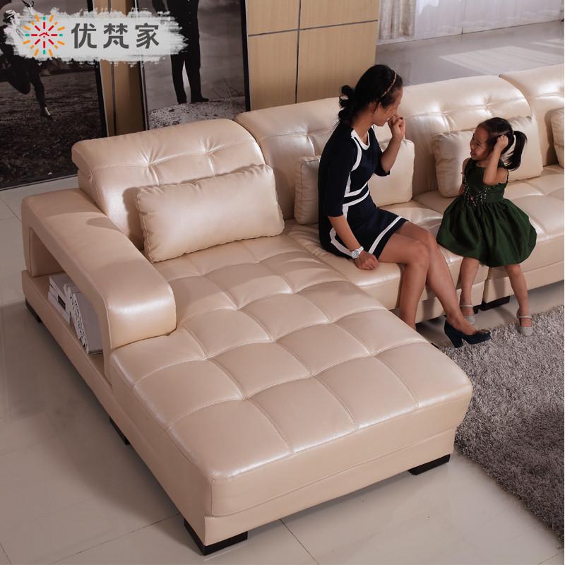 優梵家 接觸面真皮L形木質工藝儲藏海綿藝術簡約現代 沙發