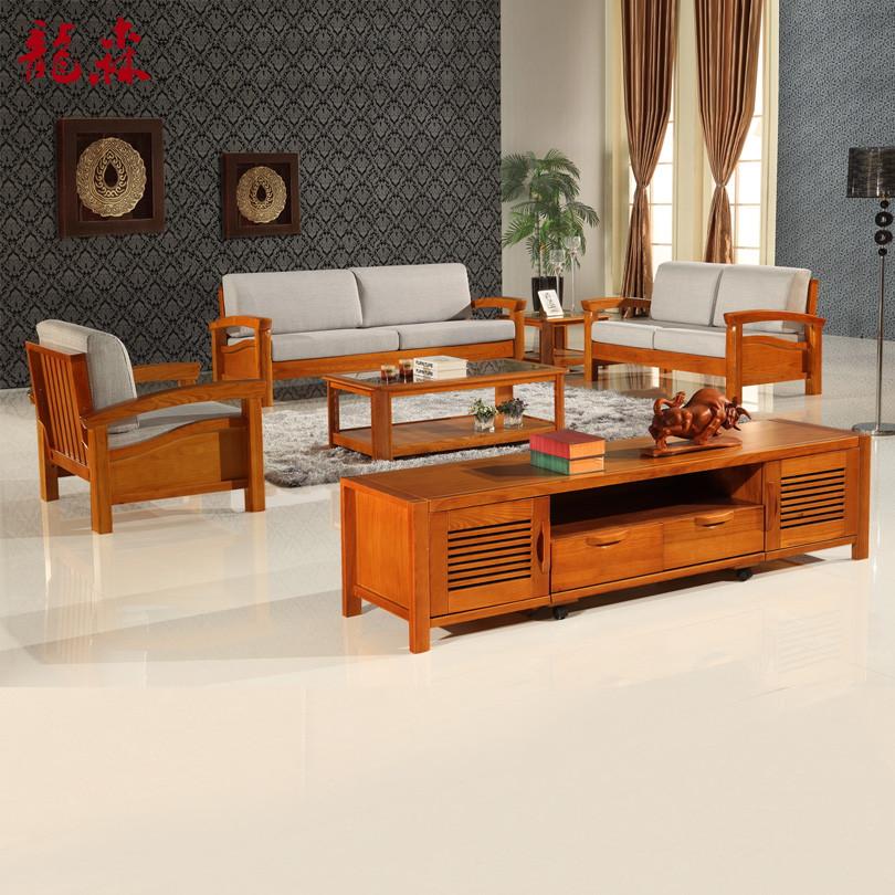 龙森 U形水曲柳多功能海绵现代中式 沙发
