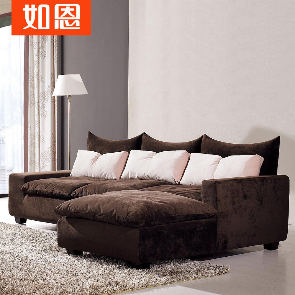 如恩深咖啡色贵妃形植绒木质工艺柳桉木移动绒质海绵艺术简约现代沙发
