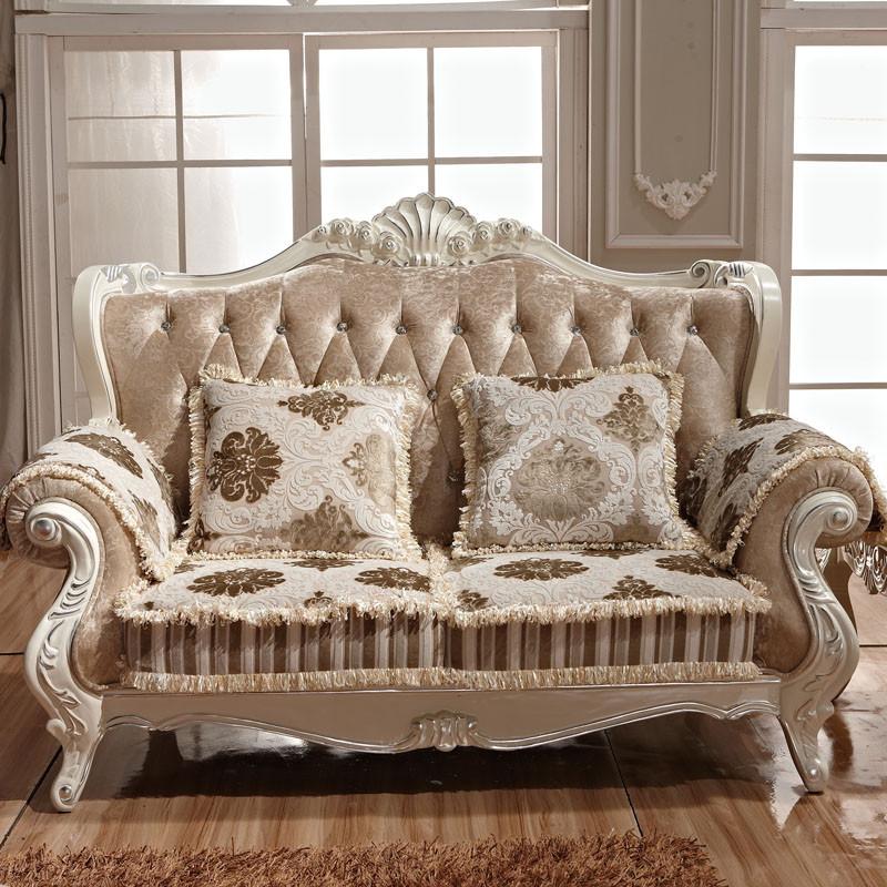 爱梦娅照片原色形植绒木质工艺雕刻橡胶木拆装绒质化纤欧式沙发