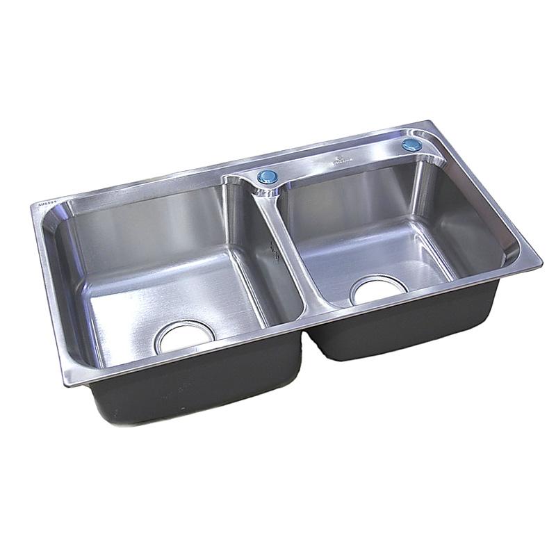 格璐斯 拉絲銀304不銹鋼拉絲一體成型雙槽水槽 水槽