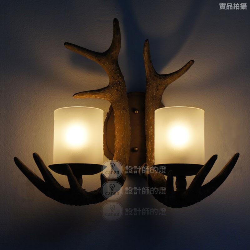 设计师的灯双头鹿角壁灯玻璃树脂美式乡村喷漆磨砂白炽灯节能灯壁灯