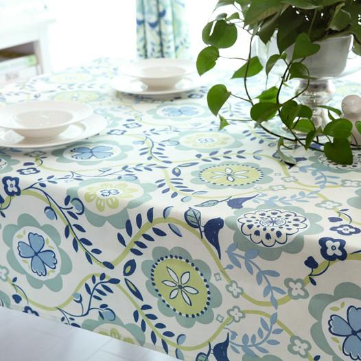 吉屋 弗拉紫弗拉蓝布植物花卉韩式 桌布