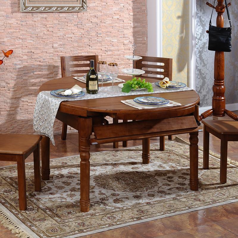 德邦尚品 单餐桌(原木纹理)组装人造板框架结构橡胶木长方形简约现代