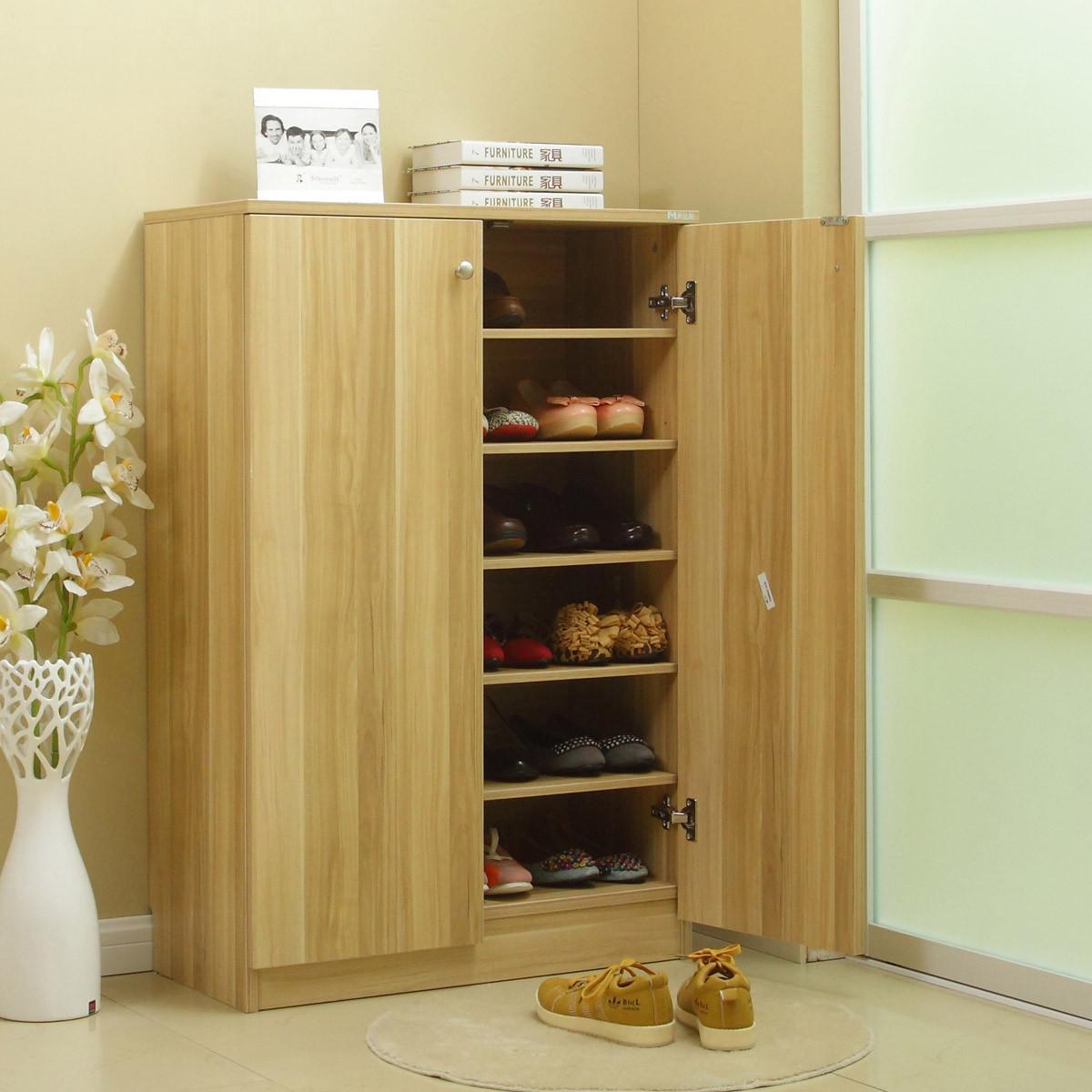 美达斯枫木色浅胡桃木色人造板刨花板三聚氰胺板简约现代鞋柜