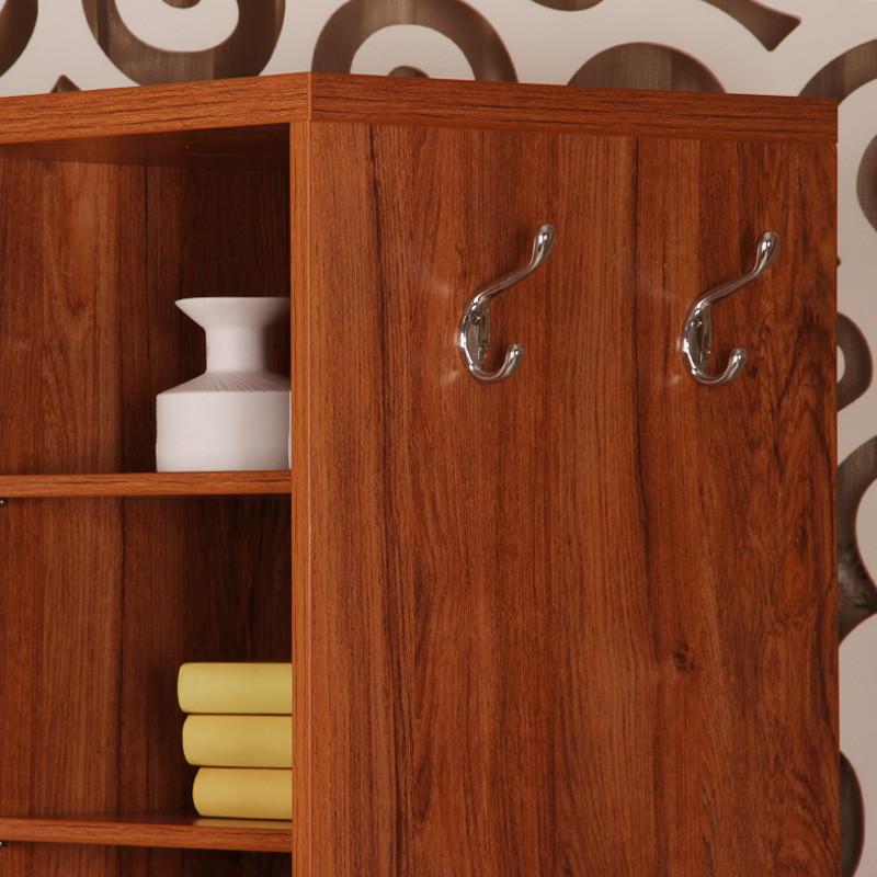 丰采家居柚木色白色人造板密度板纤维板框架结构多功能单开门艺术简约现代鞋柜