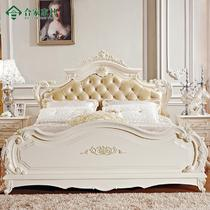 橡木框架结构欧式雕刻 HJ03床床