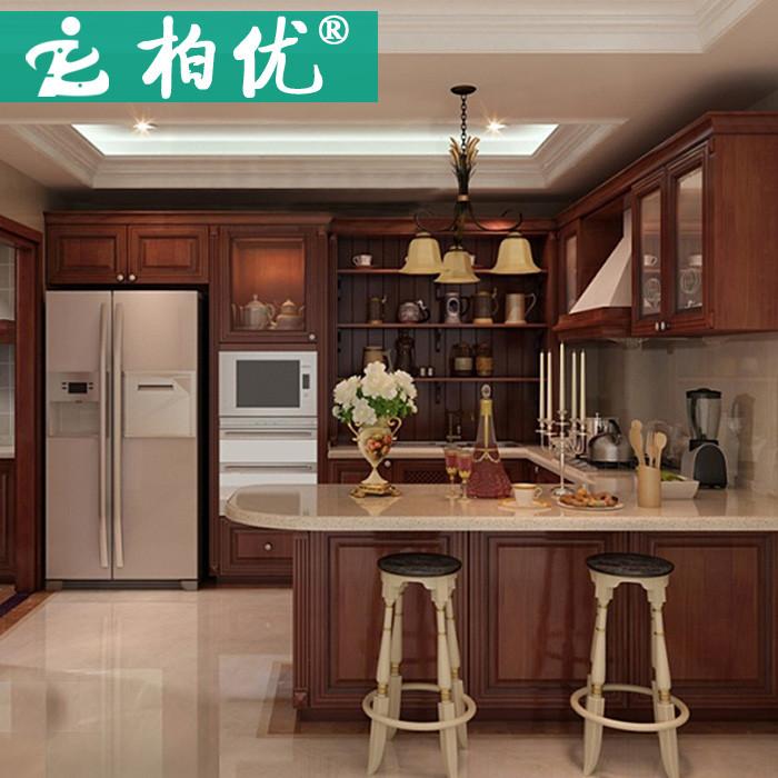 柏優 多種顏色可選防潮板人造大理石柏優實木L型復古 櫥柜