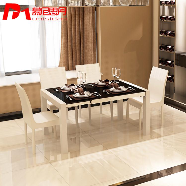 慕尼思丹 金屬散裝不銹鋼玻璃框架結構長方形簡約現代 餐桌