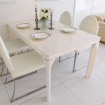 人造板组装密度板/纤维板玻璃框架结构艺术长方形简约现代 T158C餐桌
