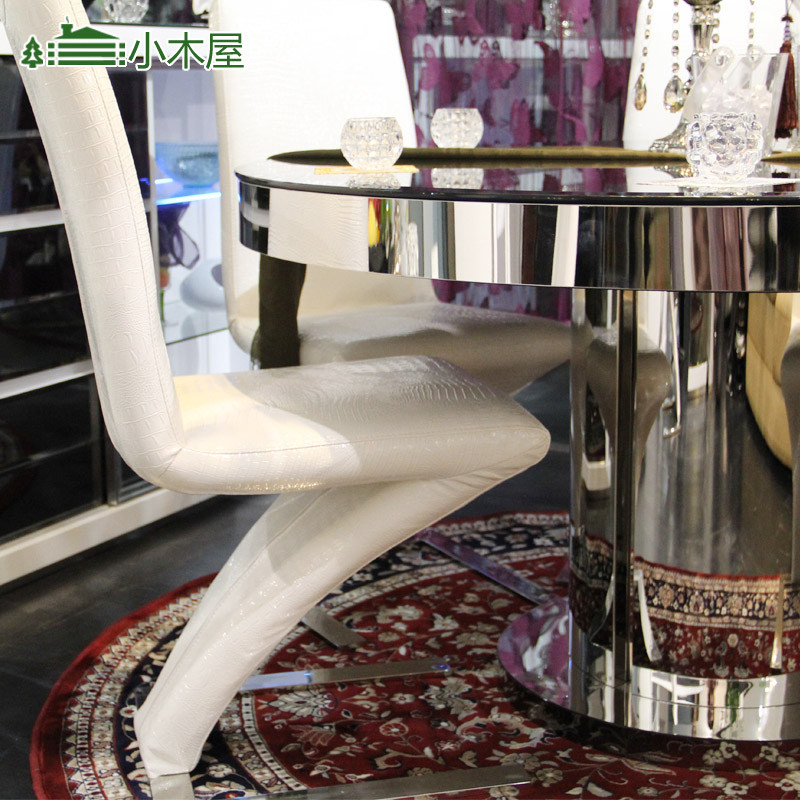 金属组装不锈钢玻璃支架结构储藏圆形简约现代餐桌