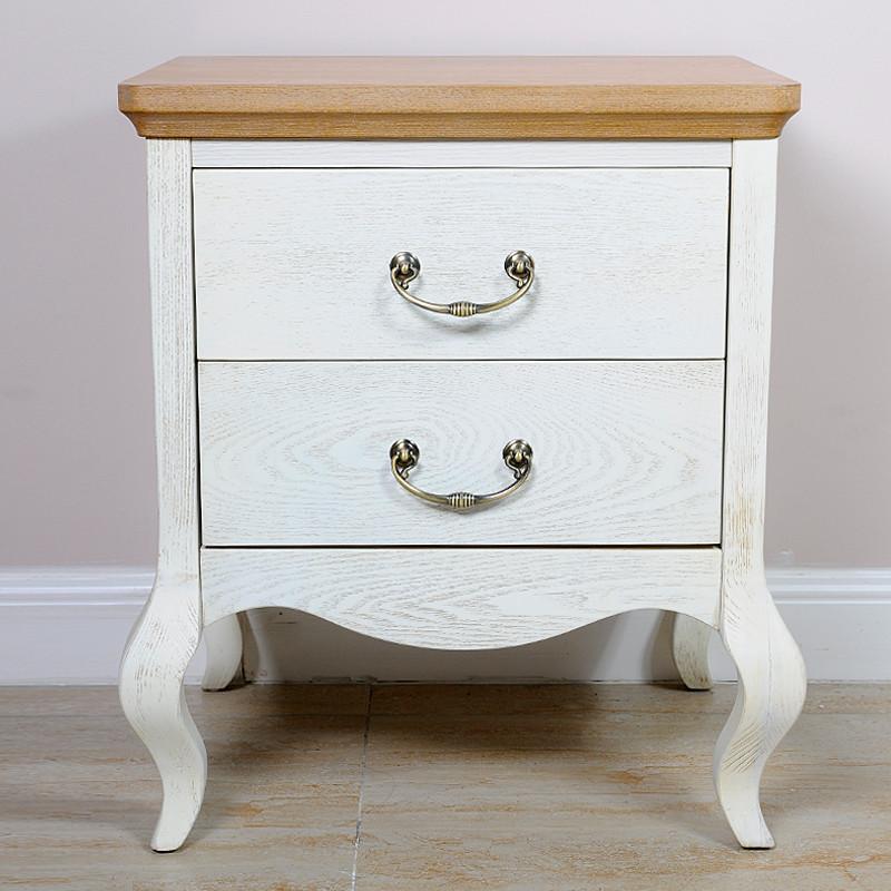 天麦白色橡胶木成人欧式床头柜