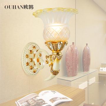 欧韩 玻璃树脂欧式雕刻节能灯led 壁灯