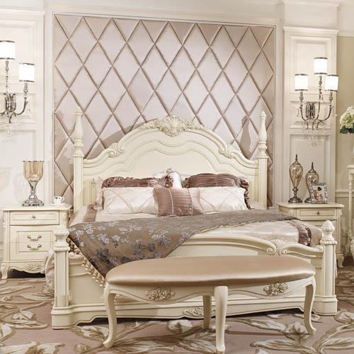 美典居 床头柜床橡木框架结构欧式雕刻 床价格,图片