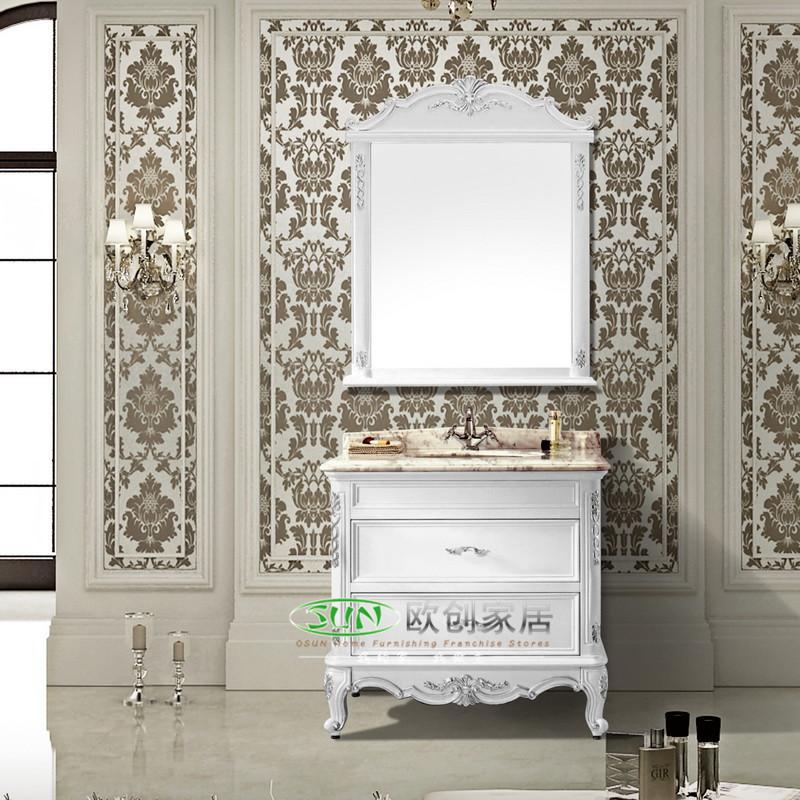 福森 橡胶木大理石台面e0级欧式 c26浴室柜