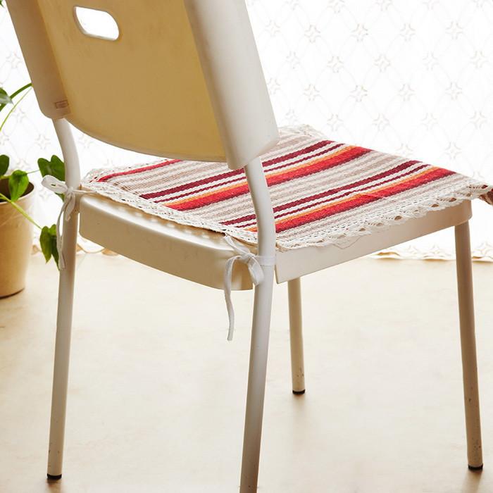蔻姿红色布条纹现代中式坐垫