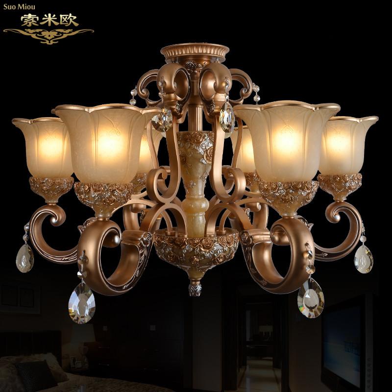 索米欧 玻璃铁树脂欧式镂空雕花白炽灯节能灯led 吊灯