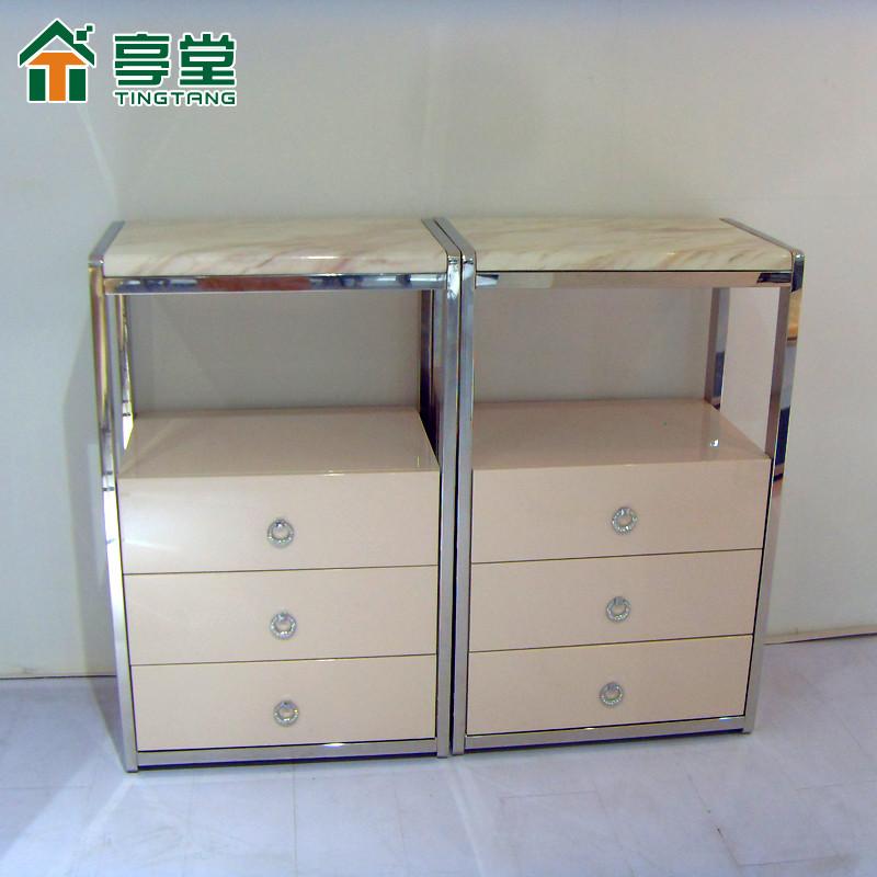 亭堂 白色金属不锈钢木支架结构储藏风景简约现代 餐边柜