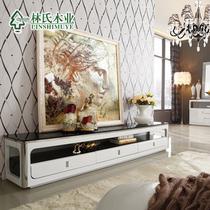 黑白色金属烤漆不锈钢玻璃储藏成人简约现代 电视柜