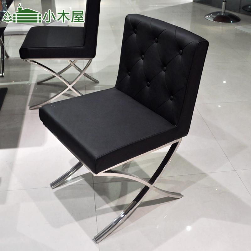 黑色白色金属软面钢皮革多功能成人简约现代餐椅