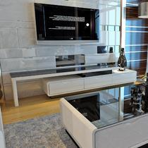 人造板烤漆密度板/纤维板玻璃框架结构伸缩成人简约现代 D02电视柜