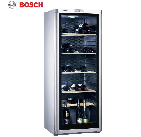 博世 银灰色可调节R600a二级实木层架直冷风冷侧开门295L电脑控温 酒柜
