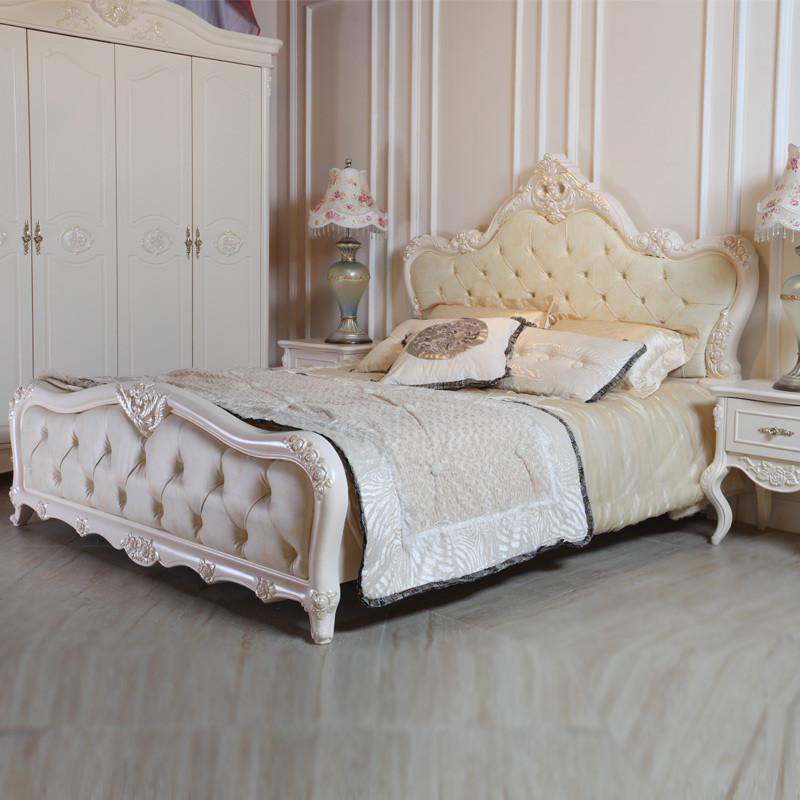 天麦 白色接触面真皮组装方形欧式 床价格,图片,品牌