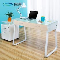 钢化玻璃面-白色钢架人造板电脑桌密度板/纤维板拆装单个简约现代 书桌
