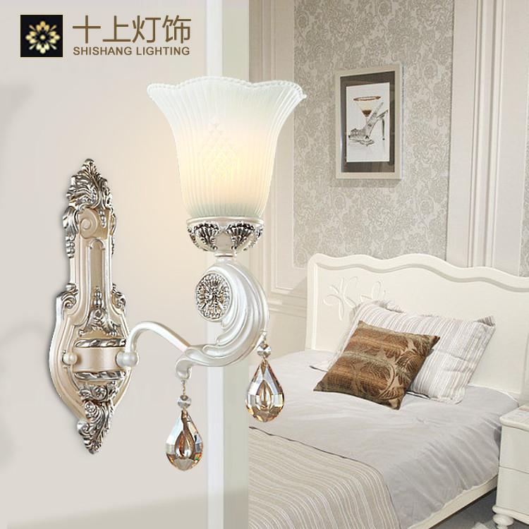 十上灯饰 玻璃铁欧式镂空雕花白炽灯节能灯LED D8001壁灯壁灯