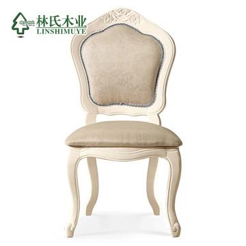 林氏木业仿古白(张椅子)布橡胶木成人欧式餐椅