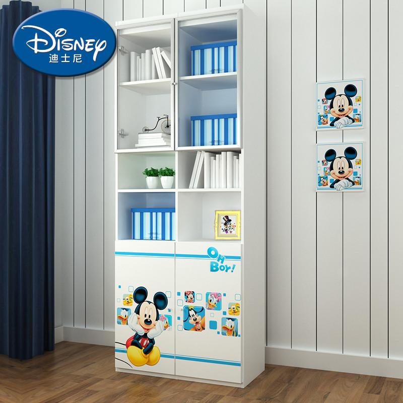 迪士尼人造板麻面刨花板三聚氰胺板框架结构储藏童趣玩具儿童简约现代-米奇魔法师书柜