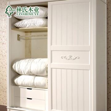 林氏木业人造板密度板纤维板储藏吊滑移门成人韩式衣柜
